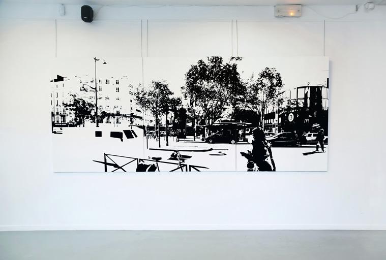 PARIS15_Place Charles Michels #07, 2015, oil on canvas, 162 x 390 cm